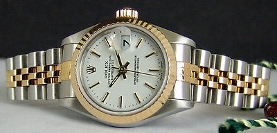 ROLEX - Ladies 26mm 18kt Gold & SS Datejust - White Stick Dial 69173 SANT BLANC