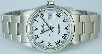 ROLEX - Mens 36mm Stainless Steel DateJust - White Roman Dial - 16200 SANT BLANC