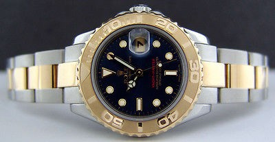 ROLEX - Ladies 29mm 18kt Gold & Stainless Steel Yacht-Master Blue Index Dial 169623