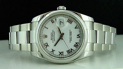 ROLEX - Mens Stainless Steel 36mm DateJust White Roman Dial - 116200