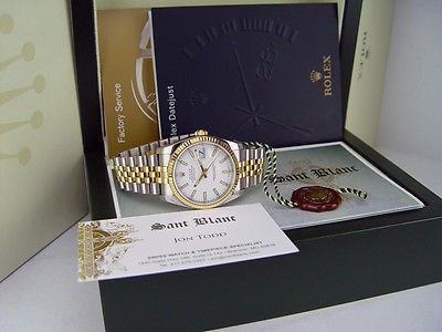 ROLEX Mens 18kt Gold Stainless DateJust White Index Model 116233 SANT BLANC