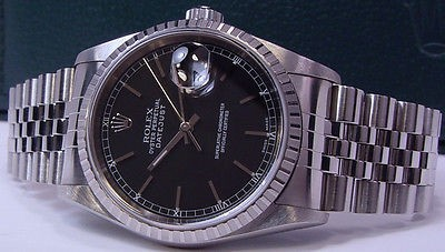 ROLEX - Stainless Mens 36mm DateJust Black Stick Dial - 16220 SANT BLANC