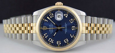 ROLEX 18kt GOLD SS 36mm Mens DateJust Blue Concentric Arabic 116203 SANT BLANC