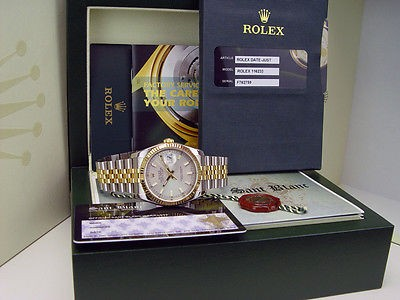 ROLEX Mens 18kt Gold Stainless DateJust Silver Index Model 116233 SANT BLANC
