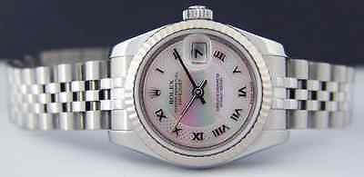 ROLEX  Ladies 18kt White Gold & SS Datejust MOP Decorated Dial 179174 SANT BLANC