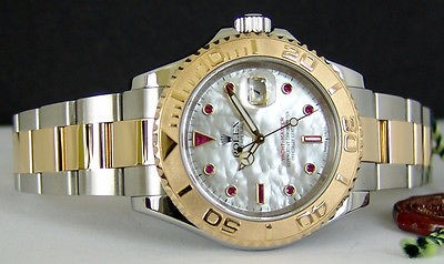 ROLEX - Gold-SS YachtMaster Mother Of Pearl Ruby Dial - 16623 SANT BLANC
