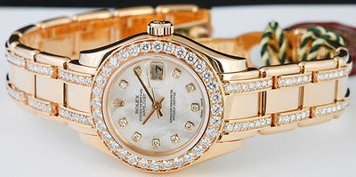 ROLEX 18kt Gold Ladies Pearlmaster Mother of Pearl Diamond Dial & Bracelet 80298
