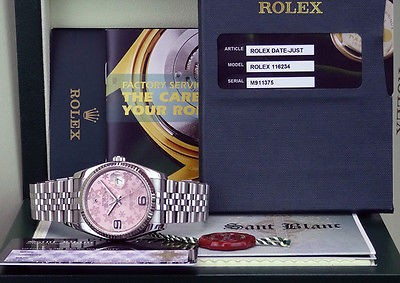 ROLEX - Mens DateJust Stainless Steel Pink Floral Dial 116234 - SANT BLANC