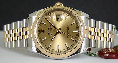 ROLEX - 36mm 18kt Gold & SS Mens Datejust Champagne Index 116233 SANT BLANC