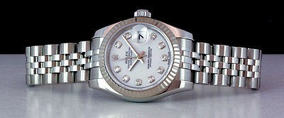 ROLEX - Ladies 26mm 18kt WG & SS Datejust White DIAMOND Dial - 179174 SANT BLANC