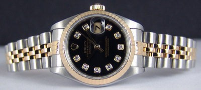 ROLEX - Ladies 18kt Gold & SS 26mm Datejust Black DIAMOND 69173 - SANT BLANC