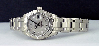 ROLEX - 29mm Ladies White Gold MASTERPIECE Mother of Pearl Diamond 80319