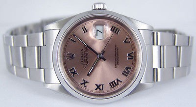 ROLEX - Men's Stainless 36mm DATEJUST Rose Dial - 16200 SANT BLANC