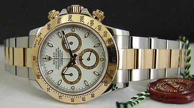 Swiss Watches Rolex Gold Stainless Daytona White Face Model 116523