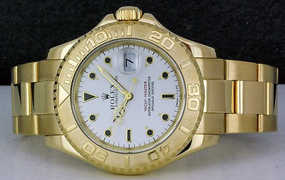 ROLEX - Mens 18kt Gold 40mm YachtMaster - White Index Dial - 16628 SANT BLANC