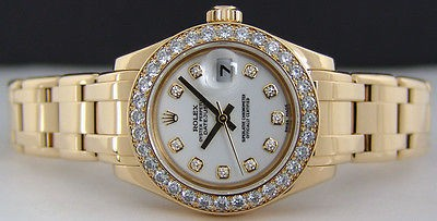 ROLEX - 29mm 18kt Gold Ladies PearlMaster White Diamond Dial - 80298 SANT BLANC