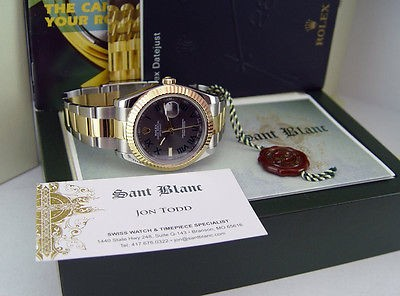 ROLEX 18kt Gold & Stainless Steel 41mm DATEJUST II Grey Roman 116333 SANT BLANC