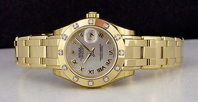 ROLEX  Ladies 29mm 18kt Yellow Gold Pearlmaster - MOP Roman - 80318 SANT BLANC