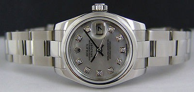 ROLEX - Ladies Stainless 26mm DateJust Mother of Pearl Diamond 179160