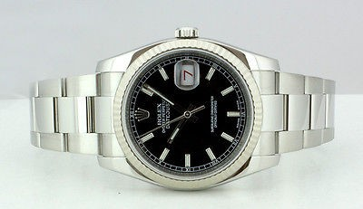 ROLEX UNWORN 2012 Mens 36mm WG & SS DateJust Black Index - 116234 SANT BLANC