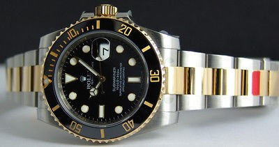 ROLEX - 18kt Gold & SS SUBMARINER Black Ceramic 116613 SANT BLANC