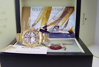 ROLEX - YachtMaster 18kt Yellow Gold MOP Pearl Ruby Dial Model 16628 SANT BLANC