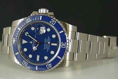 ROLEX - 18k White Gold Submariner Blue CERAMIC Bezel Model 116619