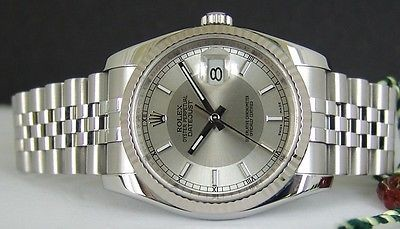 ROLEX - Mens 36mm White Gold SS DateJust Silver Bullseye Index 116234 SANT BLANC