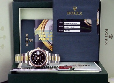 ROLEX - Mens 18kt Gold & SS DateJust Black Index Dial - 116233