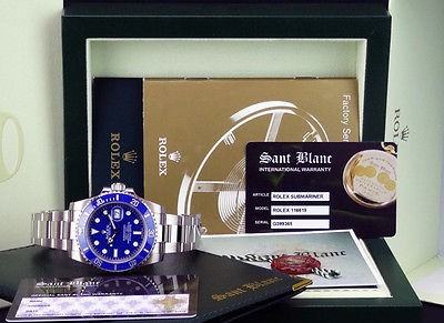 2013 ROLEX - 18kt White Gold Submariner Blue Dial CERAMIC Bezel - 116619