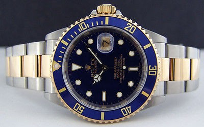 ROLEX Mens 40mm 18kt YG & Stainless Steel Submariner Blue Index 16613 SANT BLANC