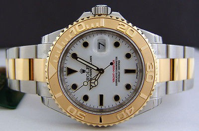 ROLEX - Men's 40mm 18kt Gold & Stainless YachtMaster WHITE Dial 16623 SANT BLANC