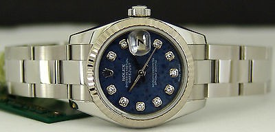 ROLEX Ladies White Gold & Stainless Steel Diamond SodaLite DateJust 179174