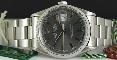 ROLEX - Stainless Mens 36mm DateJust Slate Stick Dial - 16220 SANT BLANC