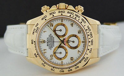 ROLEX 40mm Daytona 18kt Yellow Gold White Strap - White Arabic 116518 SANT BLANC
