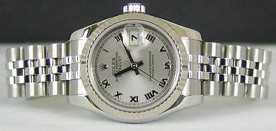 ROLEX Lady 18kt White Gold & Stainless Silver Roman DateJust 179174 SANT BLANC