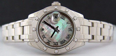 ROLEX - 29mm Ladies White Gold MASTERPIECE Tahitian Mother of Pearl Roman 80319