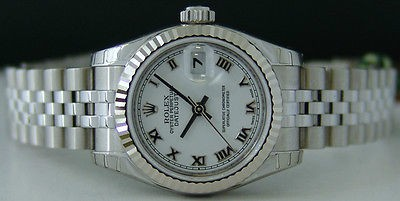 AUTHENTIC Rolex Ladies White Gold & Stainless Steel ROMAN DateJust 179174