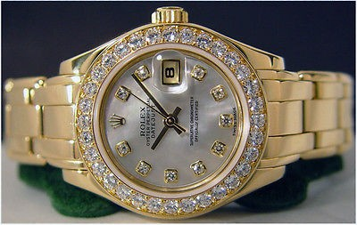 ROLEX - Ladies Gold ROLEX Full DIAMOND MOP PearlMaster 69298 SANT BLANC