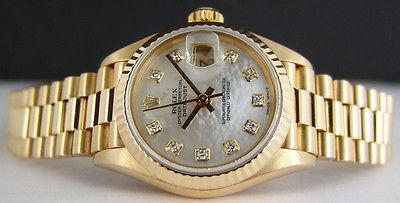 ROLEX - Ladies 18kt Gold Datejust PRESIDENT MOP Diamond Dial - 69178 SANT BLANC