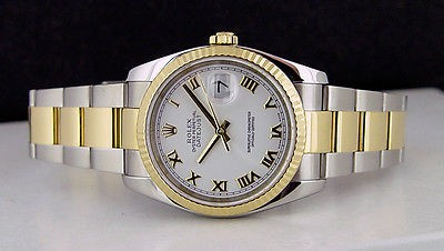 ROLEX - 36mm Men's 18kt Gold & SS DateJust White Roman Dial - 116233 SANT BLANC