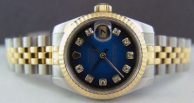 ROLEX - Ladies 18kt Gold & SS DATEJUST Blue Vignette Diamond 179173 SANT BLANC