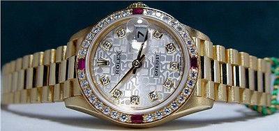 ROLEX Ladies 18kt Yellow Gold President Silver Jubilee Diamond 79068 SANT BLANC