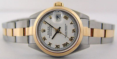 ROLEX - 26mm Ladies 18kt Gold & Stainless Date-Just White Roman 69163