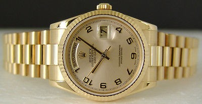 ROLEX - Mens 18kt Gold Day-Date PRESIDENT Champagne Arabic 118238 SANT BLANC