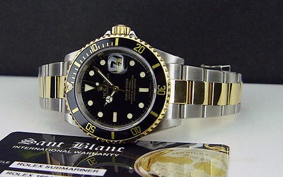ROLEX - 18kt Gold & SS SUBMARINER 40mm Black Index Dial - 16613 SANT BLANC