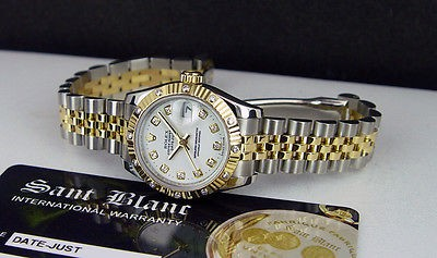 ROLEX - Ladies DateJust 18kt Gold/SS White 12 DIAMOND Bezel 179313 - SANT BLANC