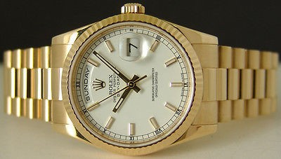 ROLEX - Mens 36mm 18kt Gold Day-Date President White Index 118238 SANT BLANC