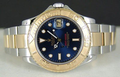 MidSize 18kt Gold & Stainless Steel Rolex BLUE Yacht-Master 168623