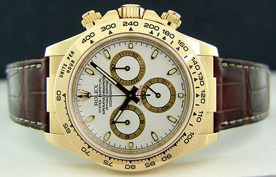ROLEX - Mens 40mm Daytona 18kt Yellow Gold - White Index Dial- 116518 SANT BLANC